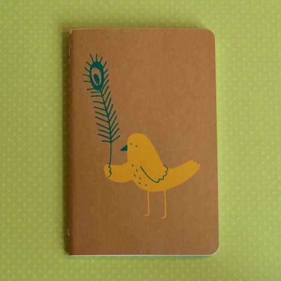 Bird With Feather (Screenprinted Moleskine Notebook) by Debbie Greenaway aka The Imagination Of Ladysnail