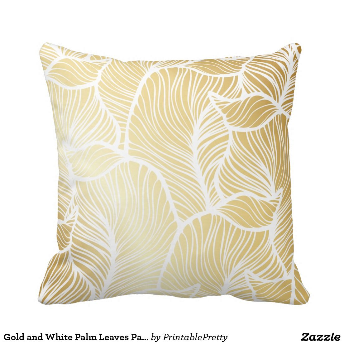 Gold and white palm leaves pattern pillows homespiration