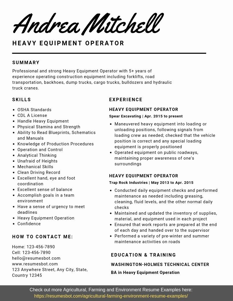 Heavy Equipment Operator Resume New Heavy Equipment Operator Resume Samples Templates Pdf Heavy Equipment Operator Resume Examples Equipment Operator