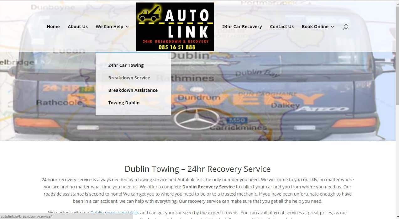 Web Design For Towing Auto Link Is A Recent Example Of Our Web Design For A Towing Company In South Dublin Th Web Design Towing Company Web Design Quotes