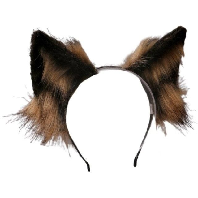 Photo of Lovely Faux Fur Wolf Ears Headband Realistic Furry Fluffy Animal Hair Hoop Lolita Anime Masquerade Performance Cosplay Costume H – A