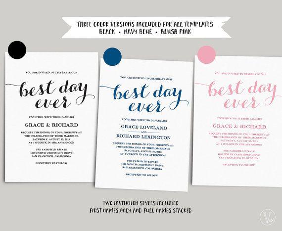 Printable Wedding Invitations Template, DIY Kraft Wedding Invitation - best of invitation name designs