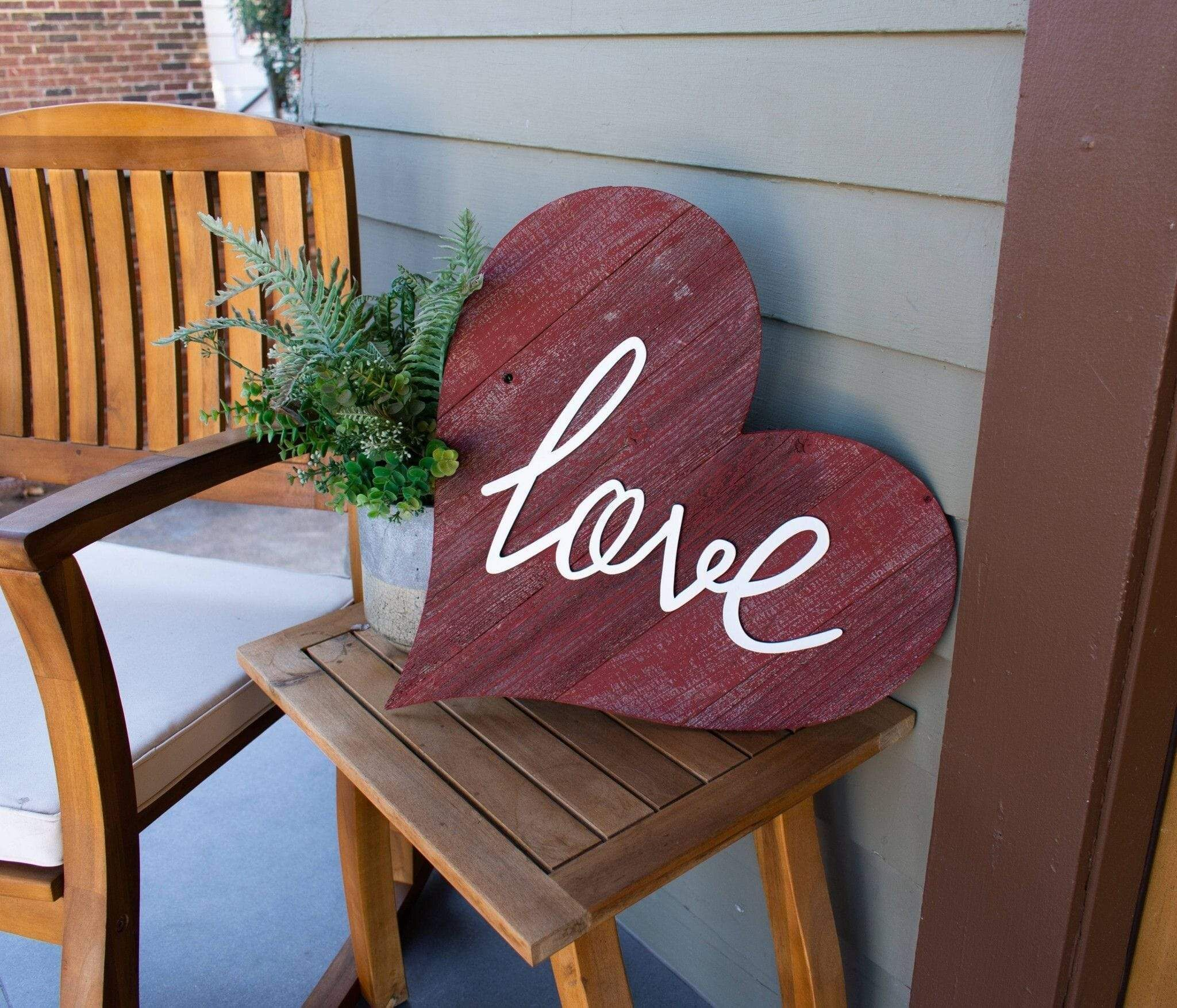 Photo of 12″ Farmhouse Red Wooden Heart