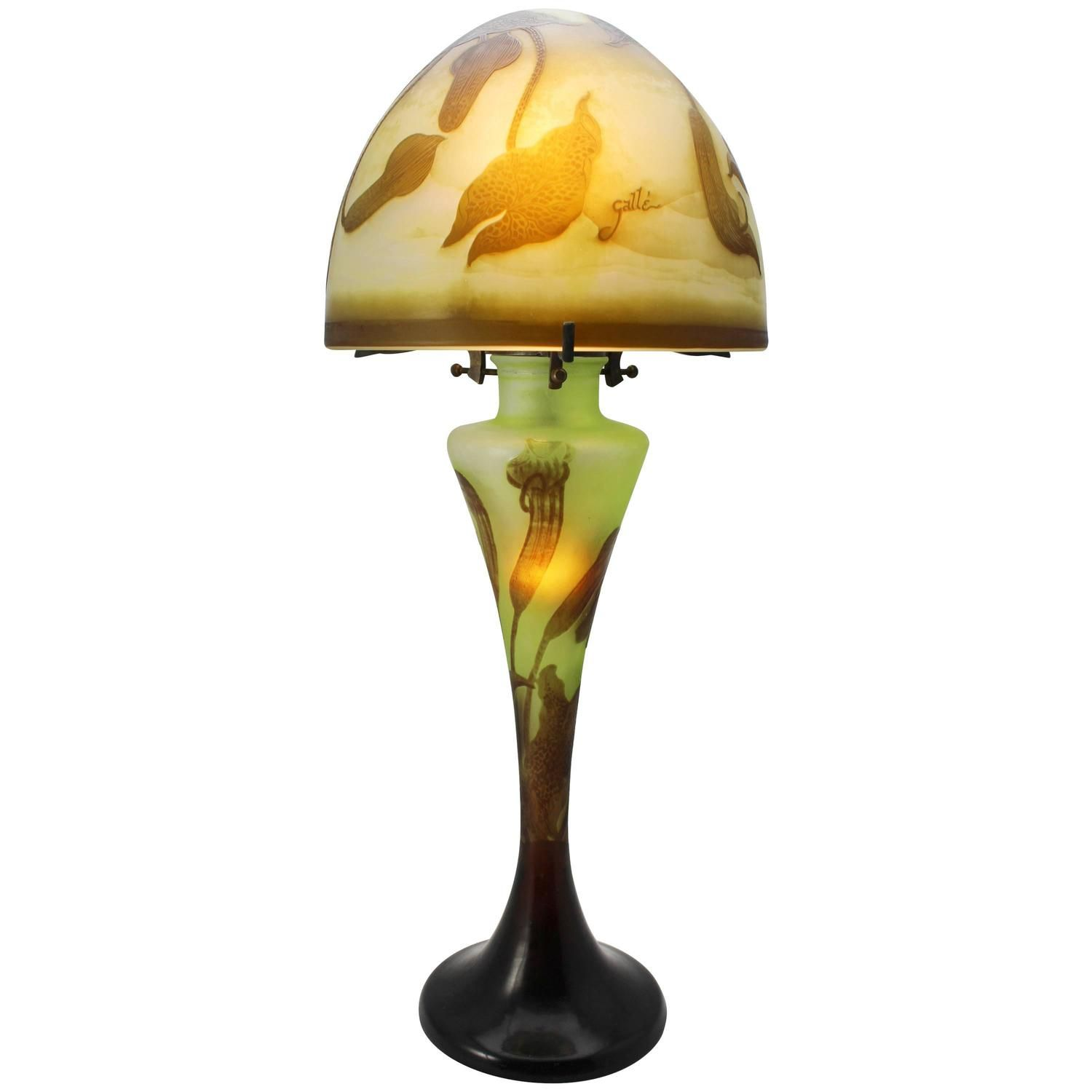Emile Galle Seaweed Lamp, circa 1900 -- Authentic Emile Galle Cameo lamp, circa 1900 cameo, acid etched with three colors; cream, green, brown and purple. The lamp displays an art nouveau seaweed and aquatic motif.