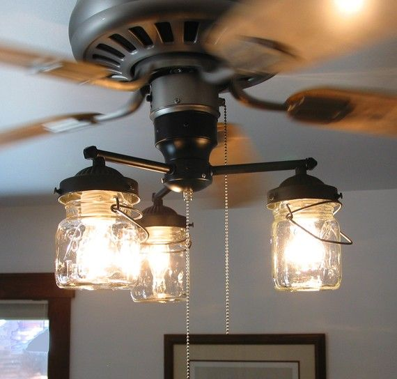 Ceiling Fans Light Fixtures: Vintage Canning Jar CEILING FAN Light KIT By LampGoods On