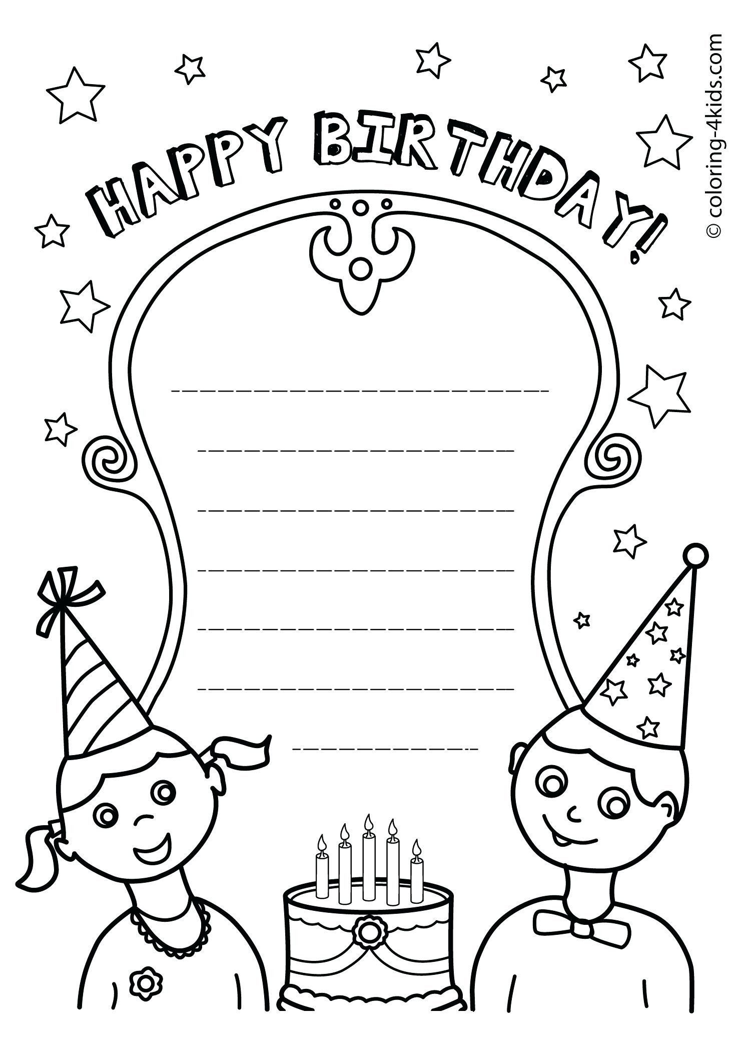 Happy Birthday Coloring Card Beautiful Happy Birthday Card Coloring Template N Happy Birthday Coloring Pages Coloring Birthday Cards Happy Birthday Printable