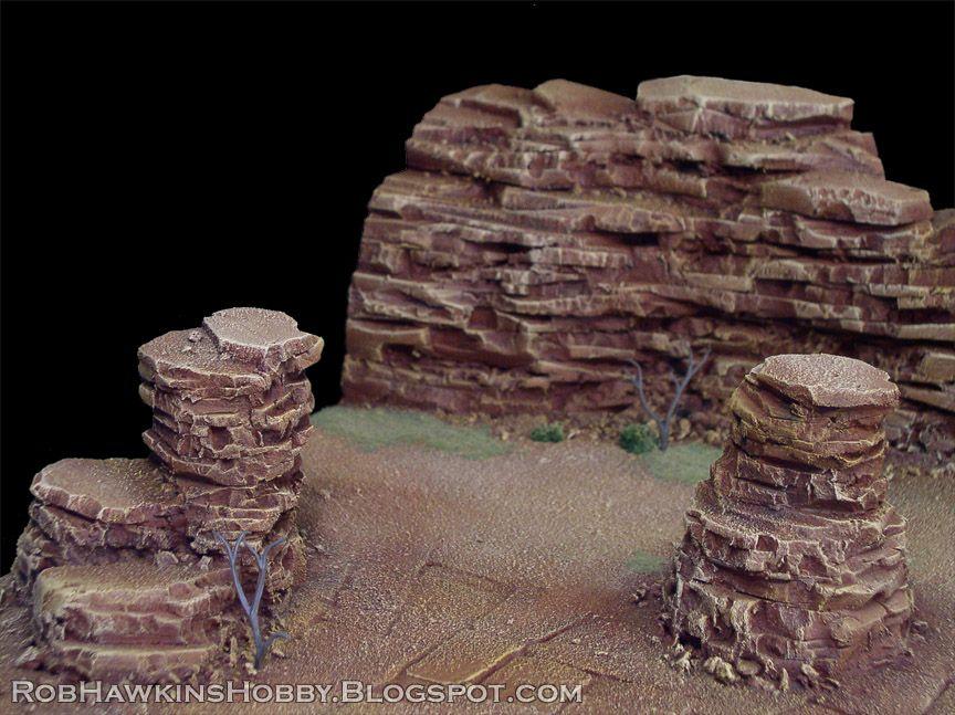 Painting The Desert Mesas - miniatures terrain diorama