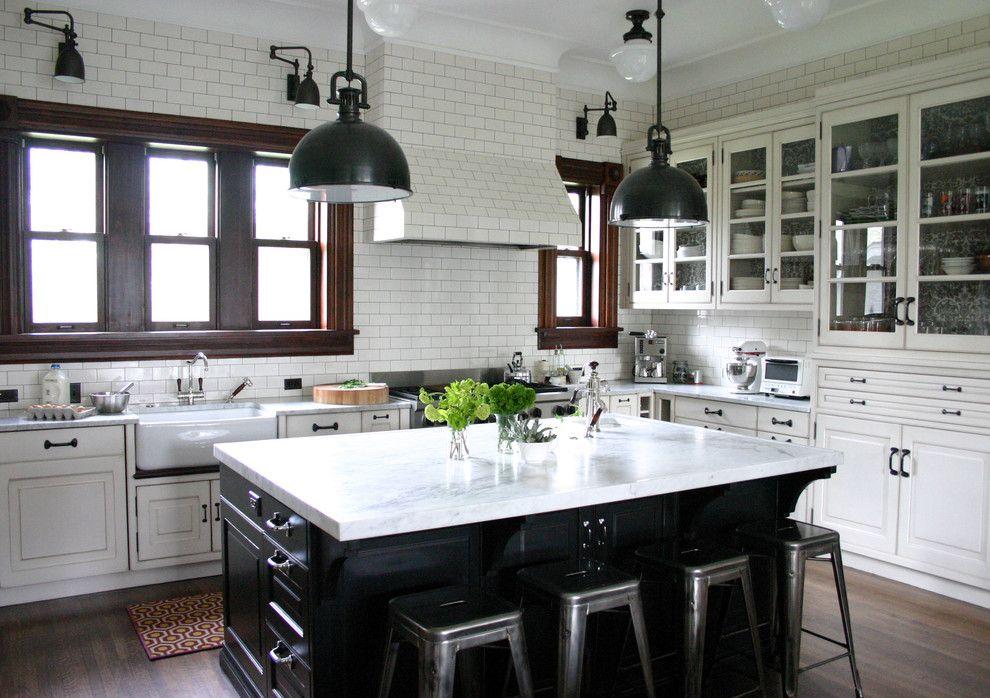 Houzz Black White Kitchen With Dark Wood Windows Kitchen