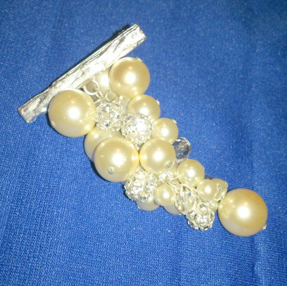 Vintage Faux Pearl and Rhinestone Grape Cluster by BorrowedTimes