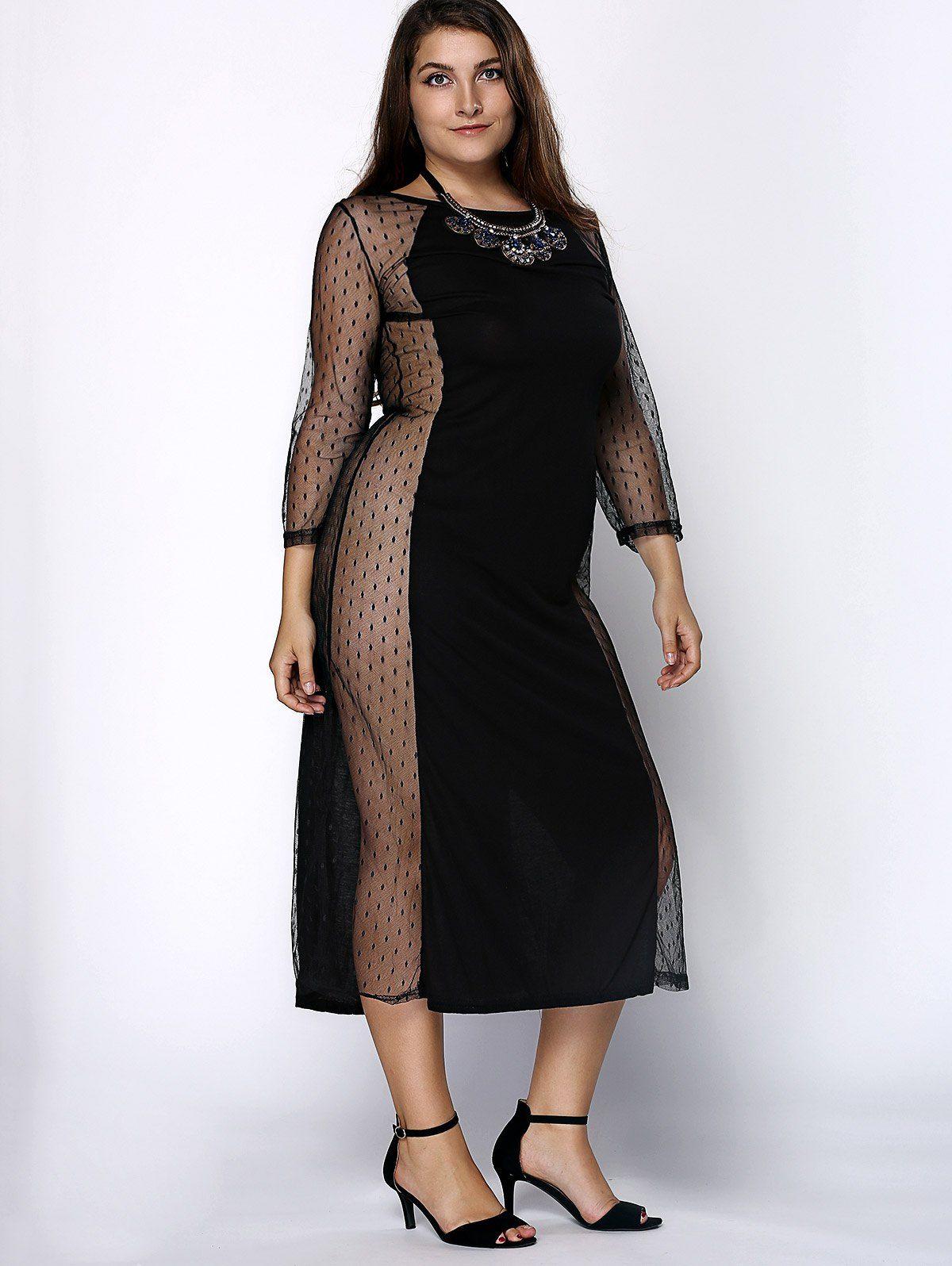 Stylish Plus Size 3/4 Sleeve Jewel Neck Mesh See-Through ...