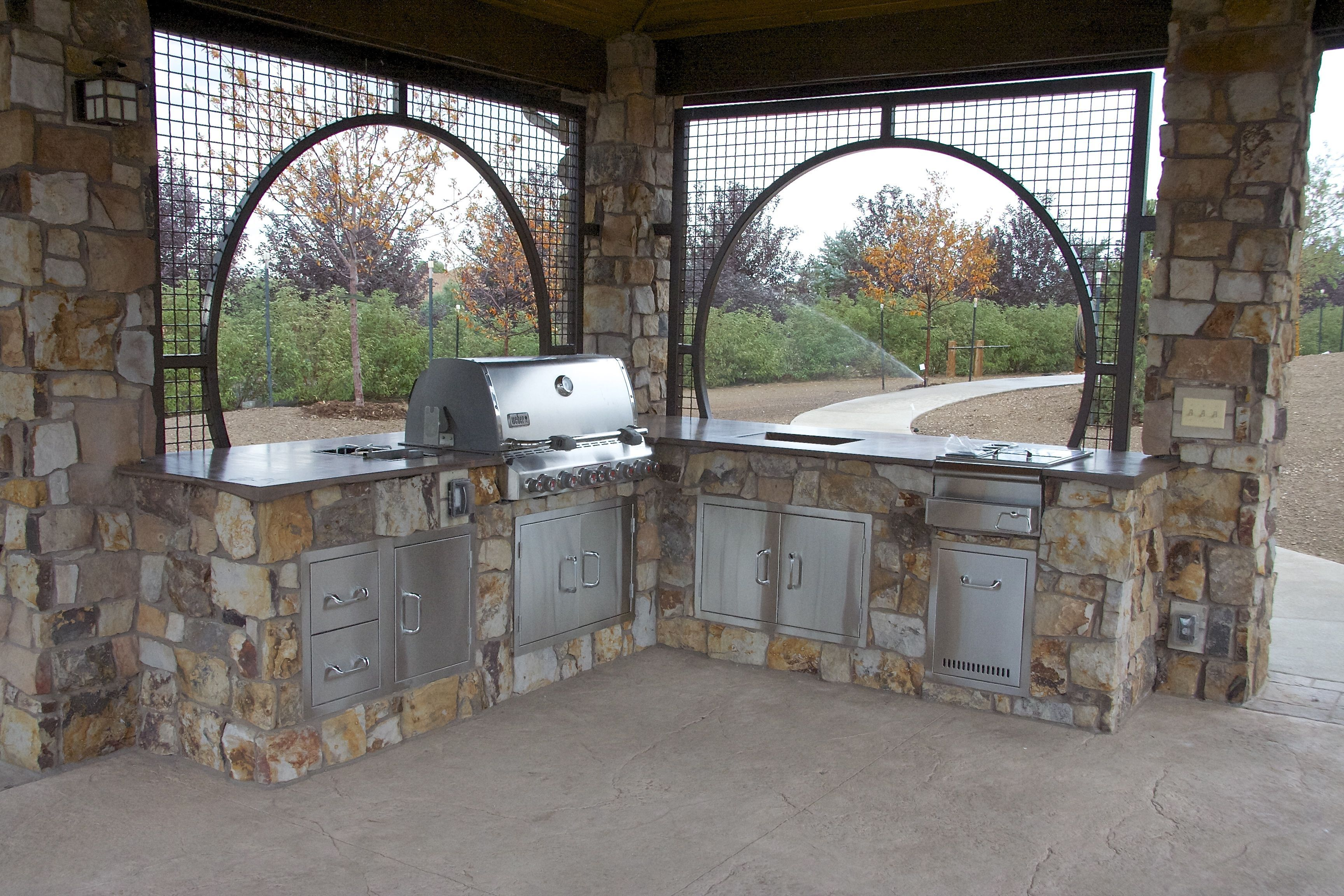 outdoor kitchens outdoor rooms ramada custom iron work bbq natural stone veneer concrete on outdoor kitchen natural id=41987