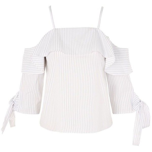 722f63df00da1 TopShop Stripe Cold Shoulder Blouse (195 RON) ❤ liked on Polyvore featuring  tops