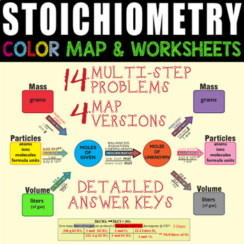 Stoichiometry Color Map & 2 Worksheets GREAT LEARNING