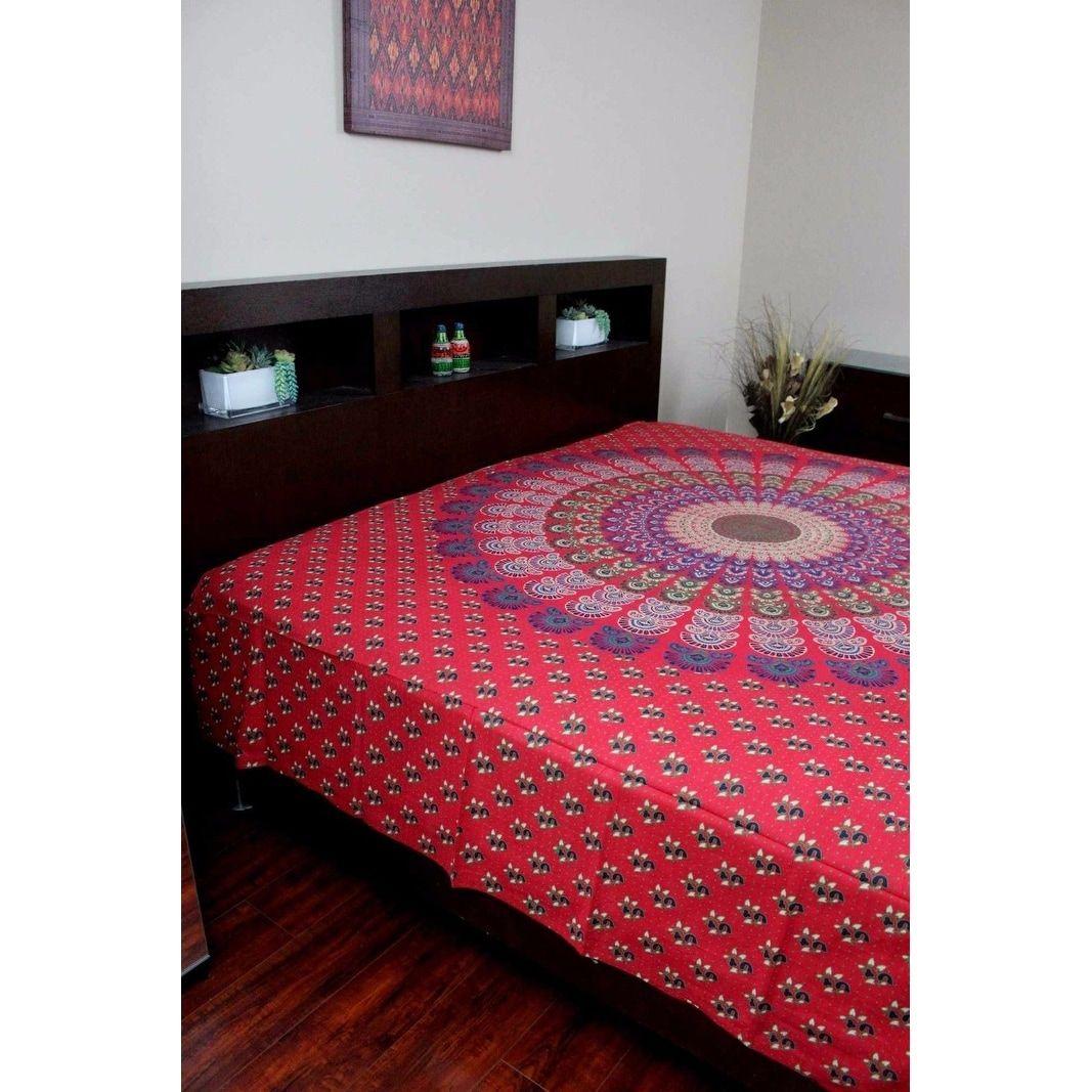 Handmade Sanganer Mandala Peacock 100% Cotton Tapestry Tablecloth ...