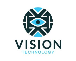 Vision is a circular logo composed of arrows and abstract forms with an eye in the center with green and blue colors.(technology, vision, abstract, technologies, eye, arrow, circular, Tech, marketing, focus, target).