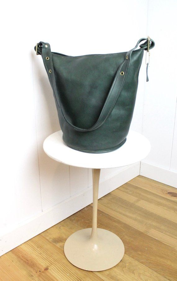 b9d8c045b482 Vintage Coach Duffle Bag Dark Green RARE   Bucket Feed Sac Tote 9085 ...