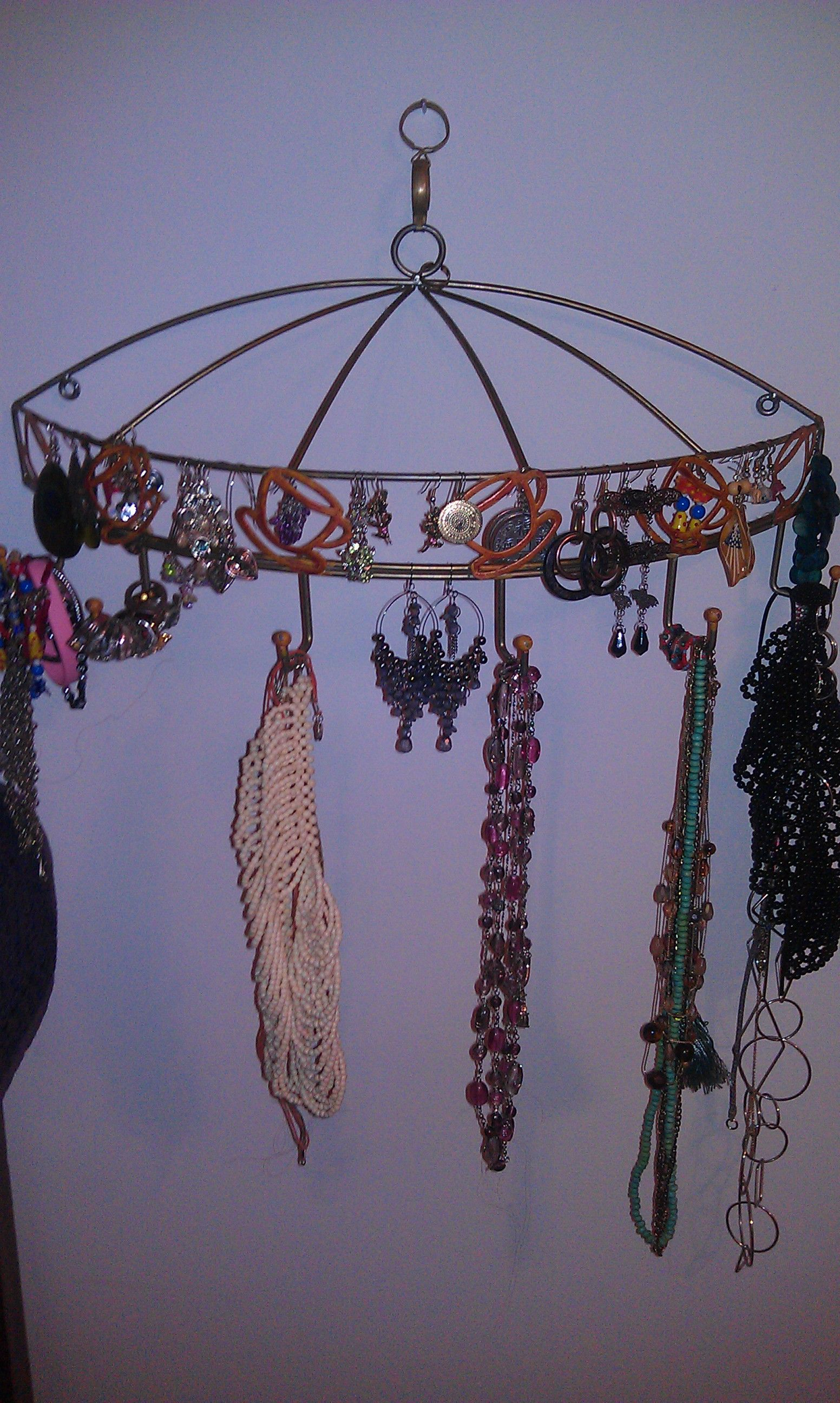 I used my mug rack to hold necklaces, earrings, bracelets and even rings!
