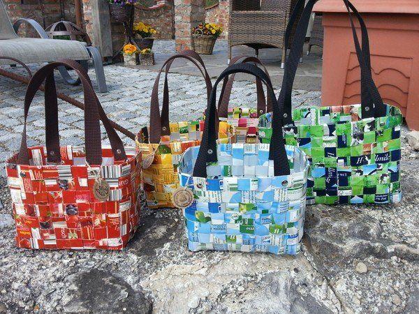 Taschen aus Tetra Pack in 3 verschiedenen Größen #weihnachtsmarktideenverkauf