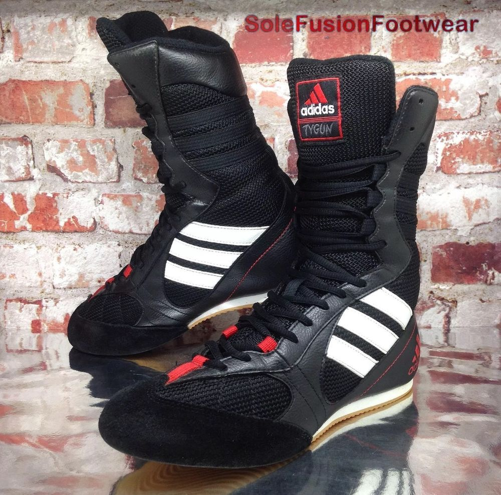 Vintage adidas mens TYGUN Boxing Shoes Black sz 6 Womens Wrestling Boots 39  1 3  3f0cff3e8