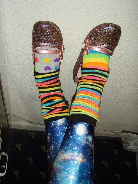 6791e6cfa Hello Kitty glitter flats: on clearance at Target (kids section) mismatched  rainbow socks: walmart rainbow leg warmers: from a friend Galaxy Leggings:  Black ...