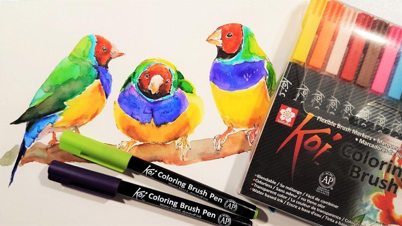 Sakura Koi Coloring Brush Pens Review Demo Youtube Coloring