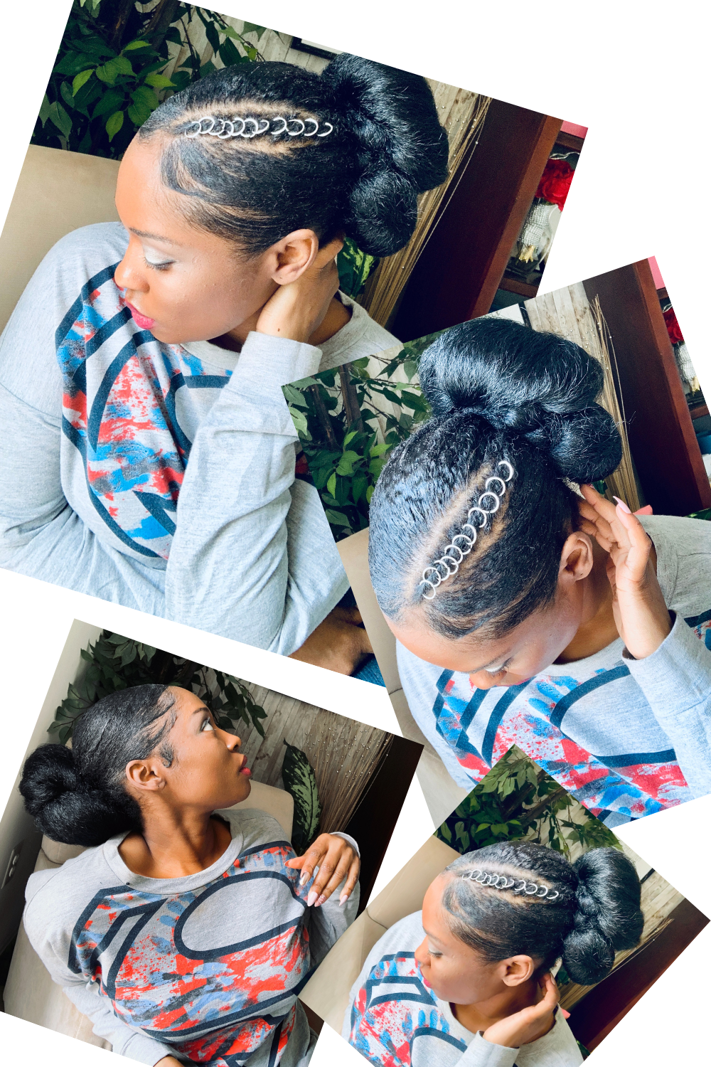 Easy Sleek Low Bun On Natural Hair With Braiding Hair Natural Hair Bun Styles Natural Hair Styles Braided Hairstyles
