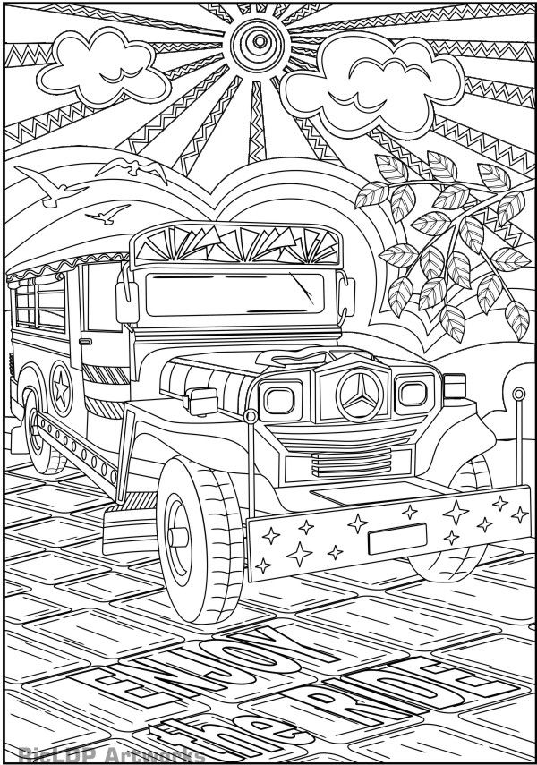 Philippine Jeepney Coloring Page Coloring Pages Adult Coloring