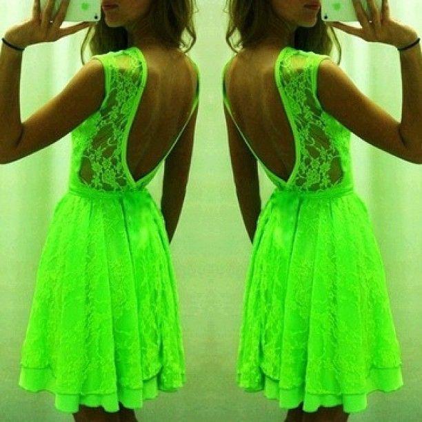 .@Susan Moses | V-back Neon Lace Dress
