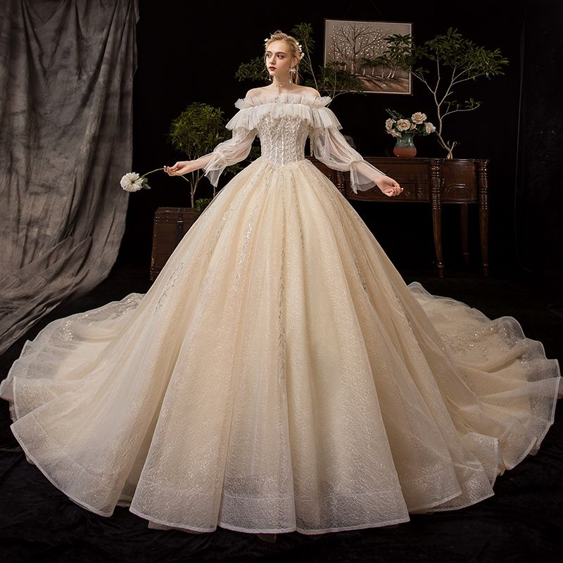 Victorian Style Champagne Wedding Dresses 2019 Ball Gown