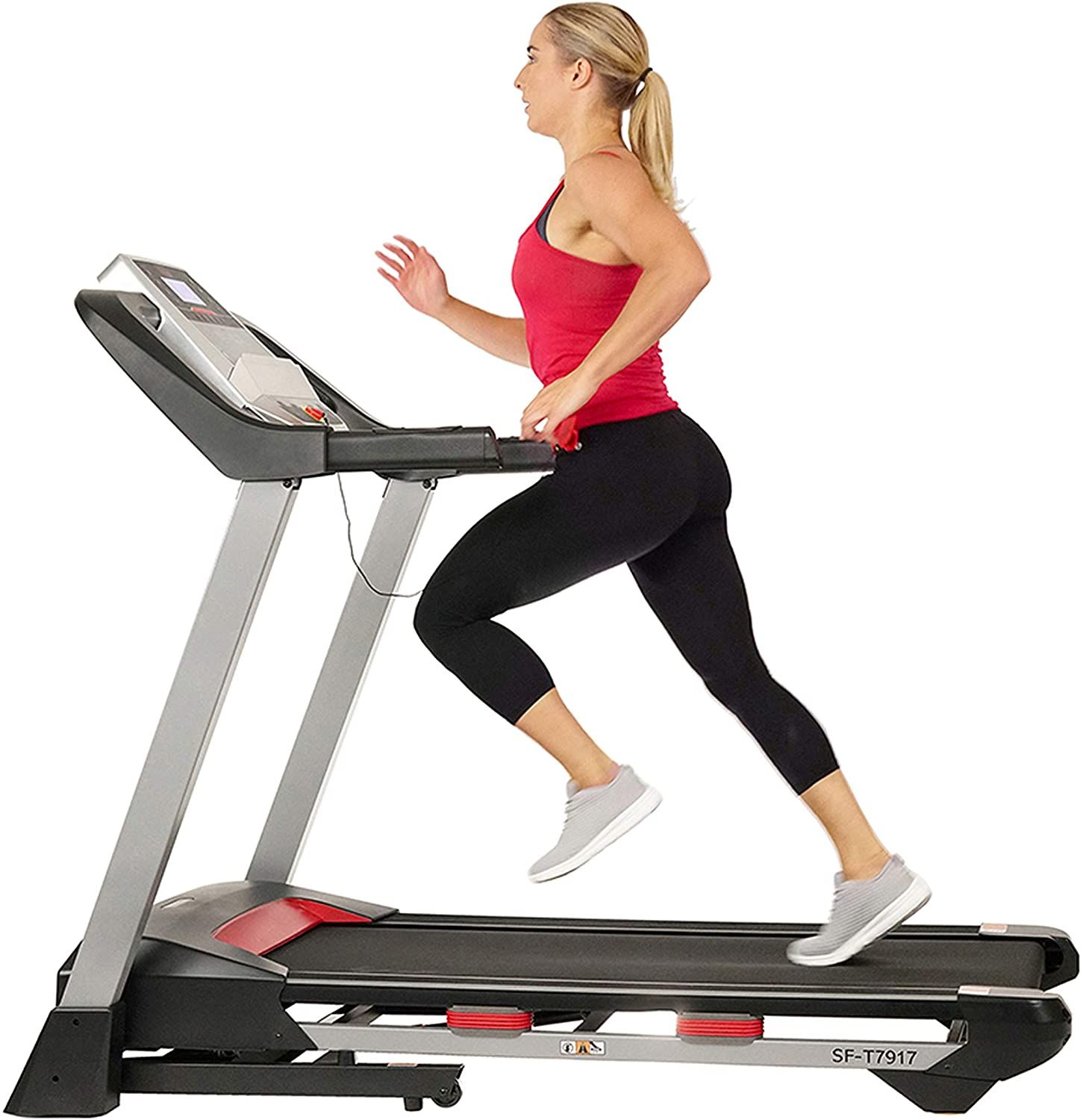 Sunny health fitness electric folding treadmill with lcd