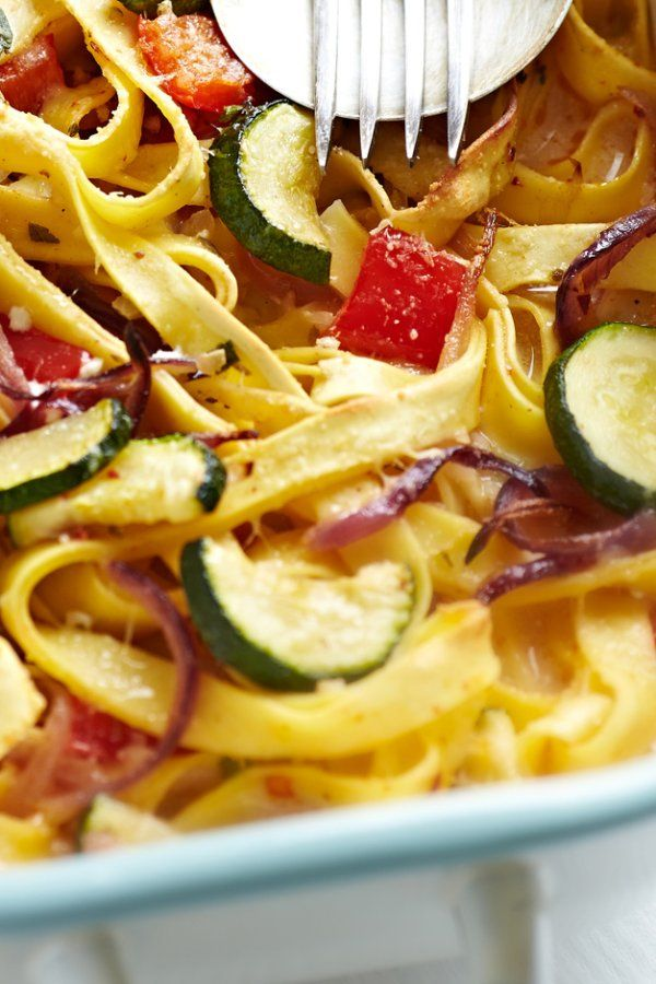 Photo of Mediterranean pasta bake with zucchini and peppers