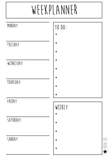 Printable weekplanner - #planning #Printable #weekplanner