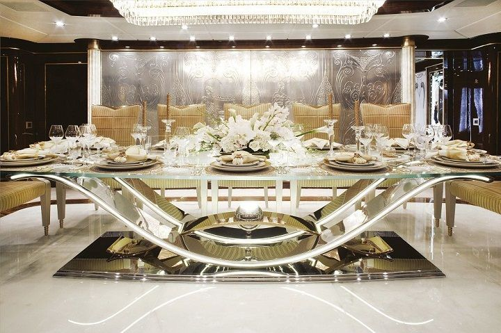 Luxury Modern Formal Dining Room Sets Design With Glass Table And Metal Base Plus Brown