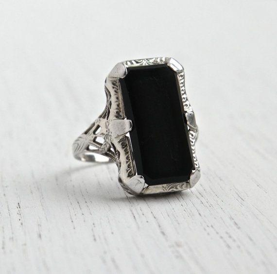 Antique 14K White Gold Filigree, Onyx Ring - Art Deco Size 8 Black  Rectangular Stone
