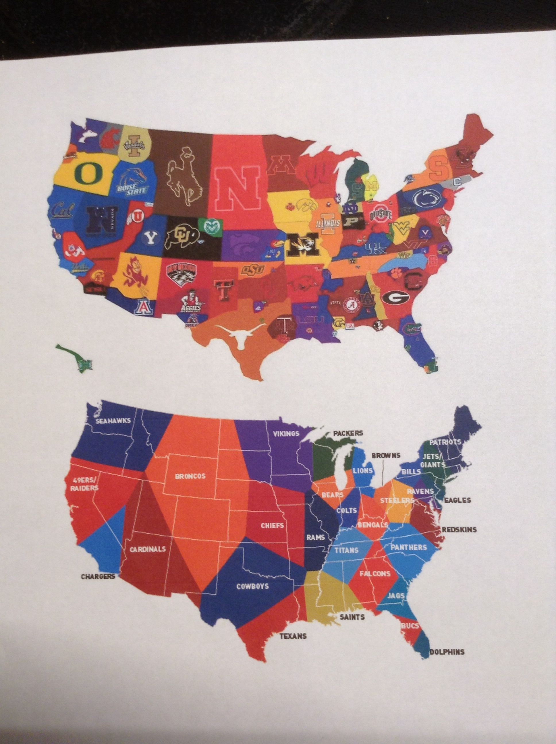 This map shows the United States, divided by which NFL or College ...