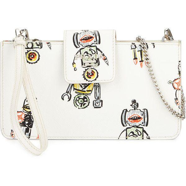 9ec1e27b491d Prada Saffiano Robot Clutch Bag w/Chain Strap ($580) ❤ liked on Polyvore