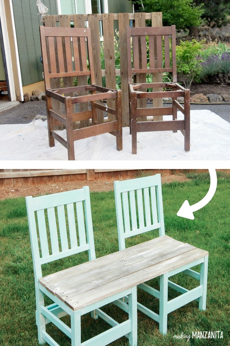 Colorful Upcycled Chair Bench For Your Backyard Diy Outdoor
