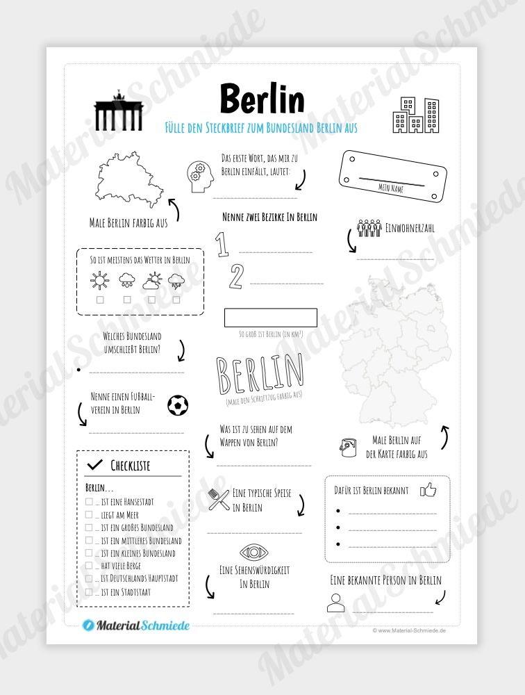 Auf Diesem Arbeitsblatt Sollen Die Schuler Einen Steckbrief Zum Bundesland Berlin Ausfullen Und Die Wichtigsten Daten Notieren In 2020 Steckbrief Arbeitsblatter Brief