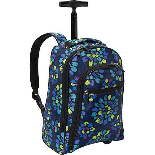 9243e726a3cc Vera Bradley Rolling Backpack Indigo Pop - Vera Bradley Wheeled Backpacks