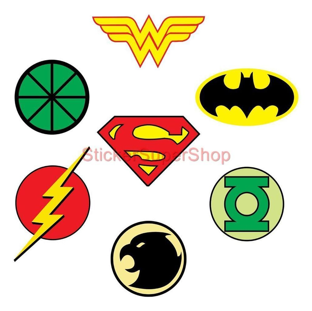JUSTICE LEAGUE LOGOS Decal Removable WALL STICKER Home Decor Art ...