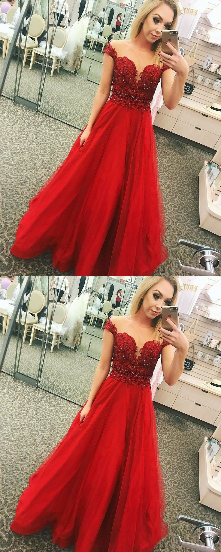 Stylish red lace tulle long prom dress offtheshoulder floor