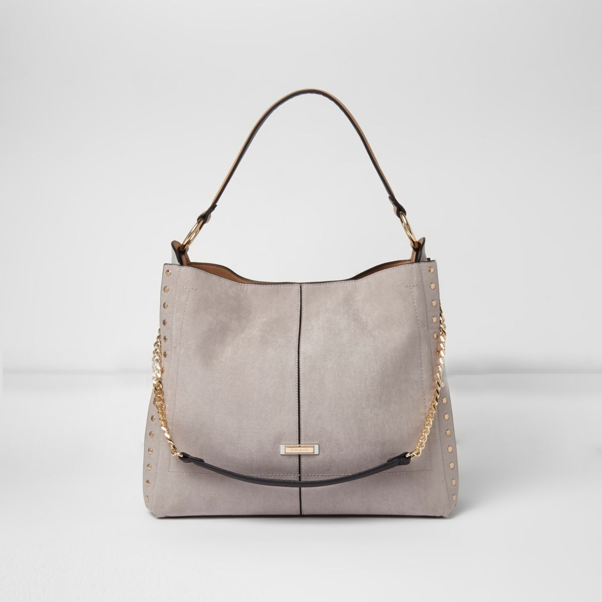f4126c86 Grey studded chain handle slouch bag River Island Bags, River Island  Womens, Gucci Purses