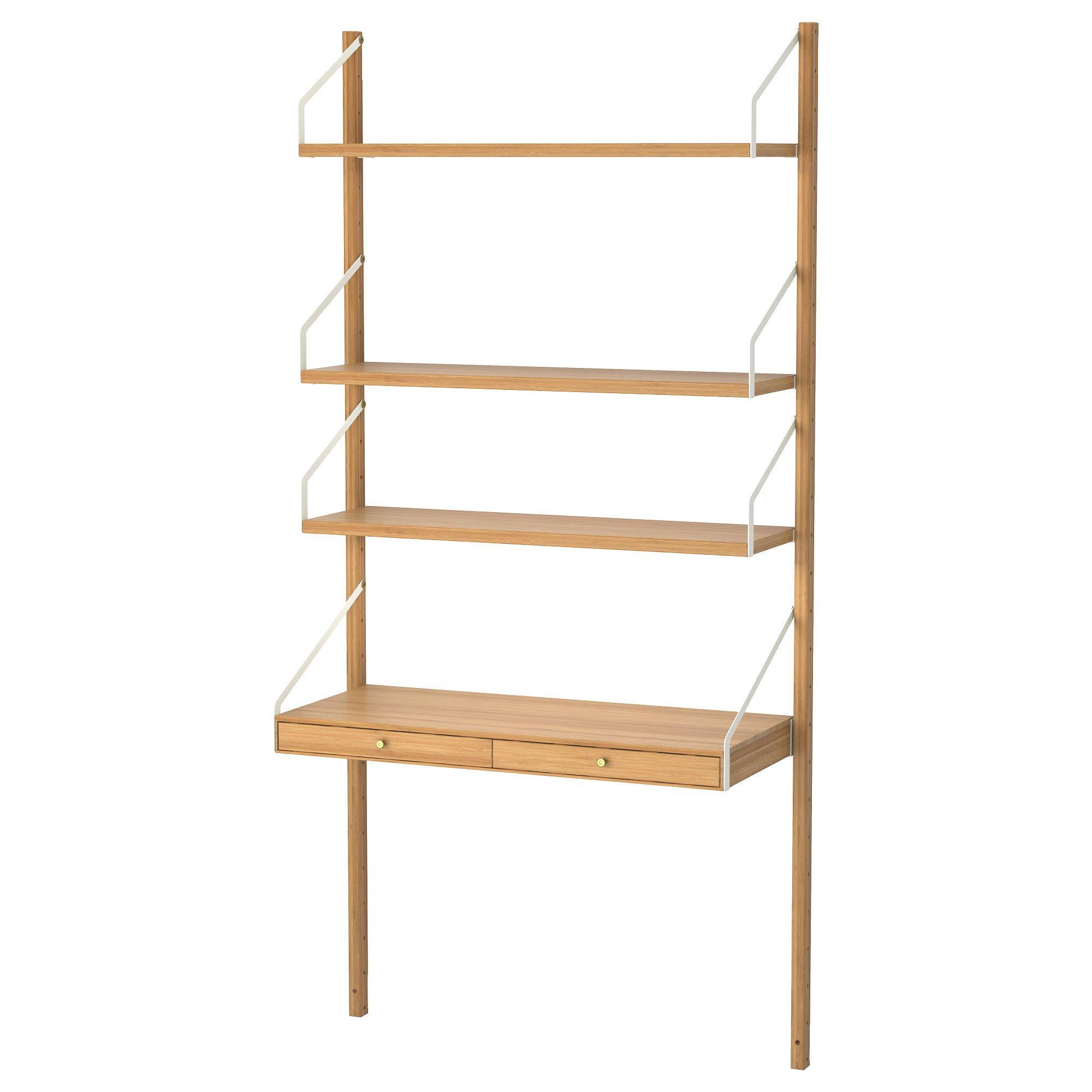 Ikea Svalnas Wall Mounted Storage Combination Bamboo White Wallmounteddesk Zuhause Dekoration Hausmobel Haus Deko