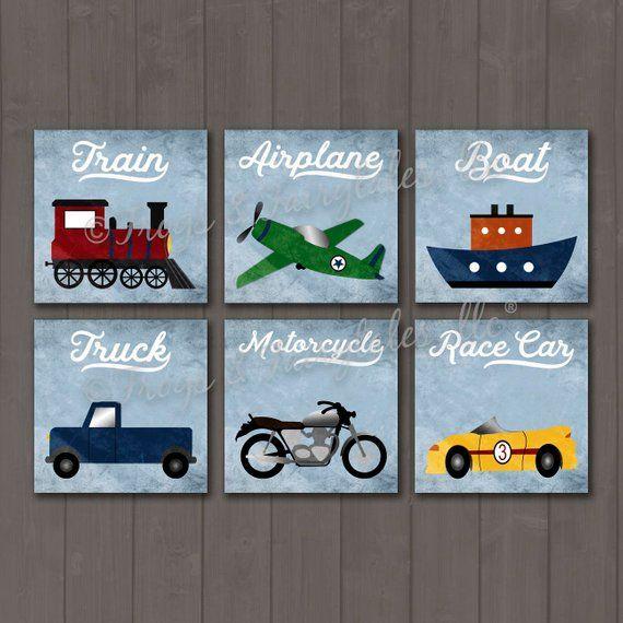 Transportation Themed Set of 6 Canvas Prints, Boy Decor, Nursery, Toddler Room #toddlerrooms