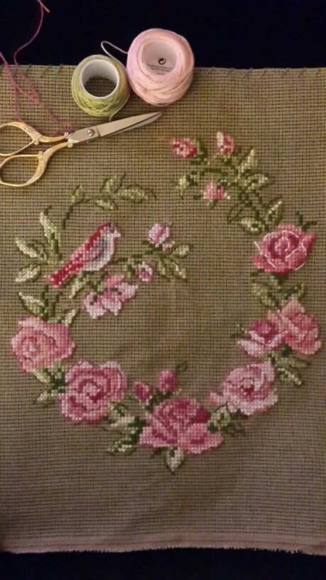Pink Roses 1 2 Cross Stitch Spring Flowers Pattern
