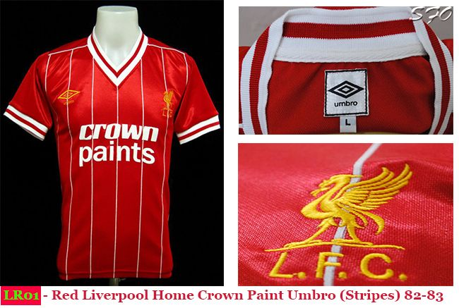 e06ba24ca LR01 - Red Liverpool Home Crown Paint Umbro (Stripes) 82-83 Grab yours