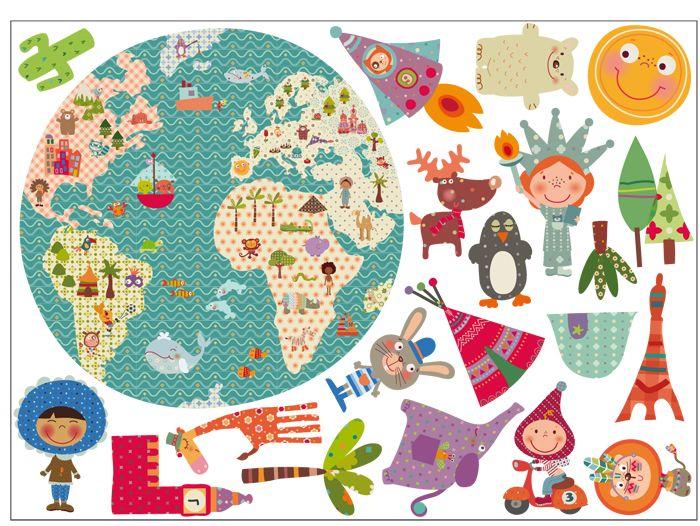 Vinilo infantil de tela la bola del mundo el mundo - Vinilos infantiles tela ...