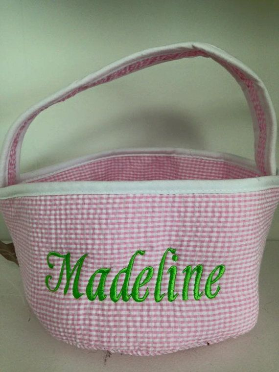 Personalized easter basket gingham pink blue by robinsembroidery items similar to personalized easter basket gingham pink blue white green 8 inch wide 11 inch tall on etsy negle Image collections