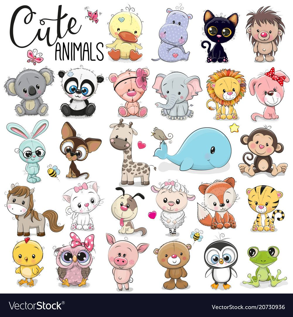 Set Of Cute Cartoon Animals On A White Background Download A Free