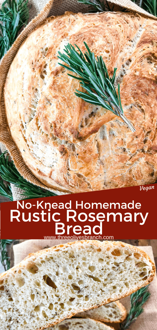No Knead Rustic Rosemary Bread - Three Olives Branch ...